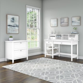 Broadview Desk with Shelves and Lateral File Cabinet by Bush Furniture