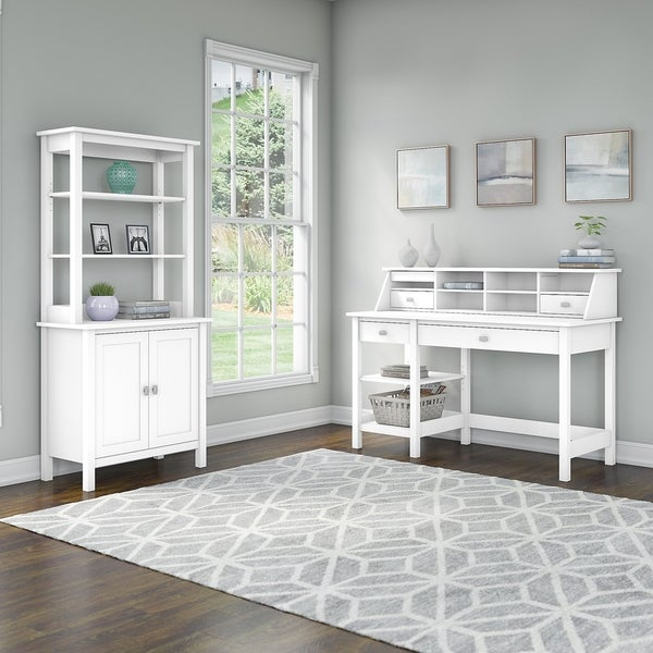 Broadview Desk with Shelves, Cabinet and Hutch by Bush Furniture
