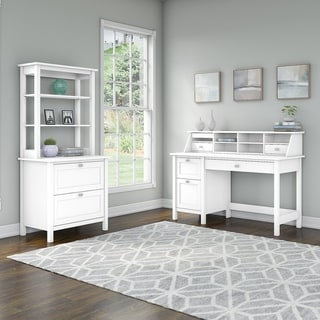 Broadview Desk with Drawers, File Cabinet and Hutch by Bush Furniture