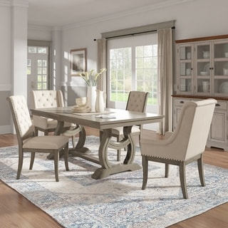 Maizy Trestle Base Extendable Dining Table with Cream Tufted Nailhead Dining Chairs by iNSPIRE Q Artisan
