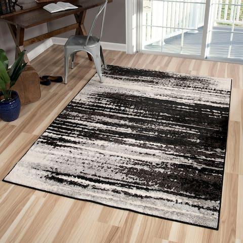 Orian Rugs American Heritage Black Shaded Lines Black