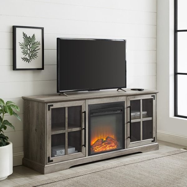 "The Gray Barn 60"" Farmhouse Fireplace TV Console. Opens flyout."