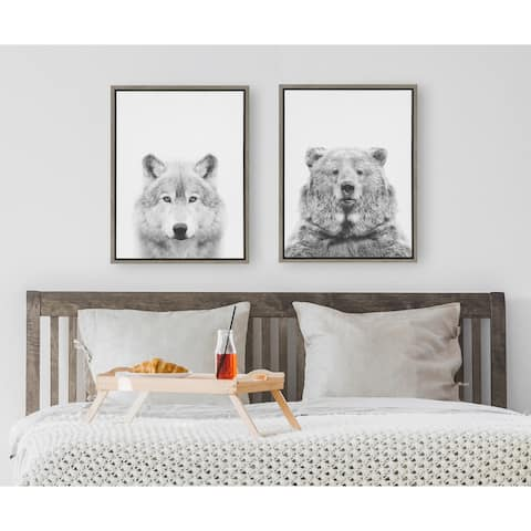 Kate and Laurel Sylvie Wolf And Bear Framed Canvas Set by Tai Prints - Gray