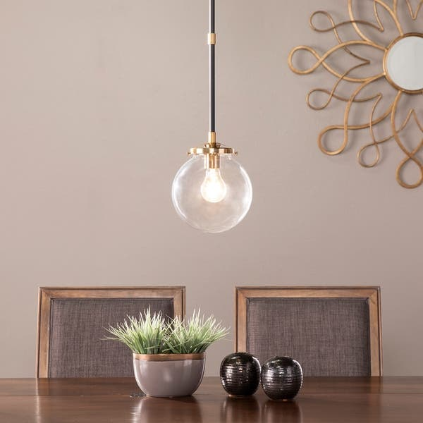 Strick Bolton Contemporary Black Metal Clear Glass Globe Pendant Light Overstock 30278372