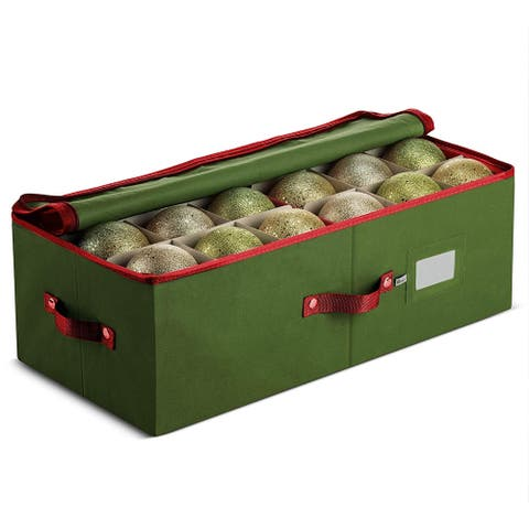 Underbed Christmas Holiday Ornament Storage Box, Up to 36 Holiday 4-Inch-