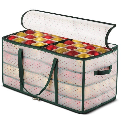 Plastic Ornament Storage Box Keeps 128 Holiday Ornaments,