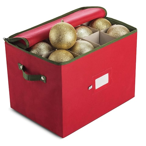 Premium Christmas Holiday Ornament Storage Box, Up to 36 Holiday 4-Inch Ornaments,