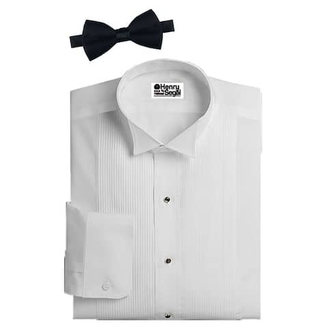 Henry Segal Men's Wing Collar Long Sleeved Pleated White Tuxedo Shirt with Black Bowtie