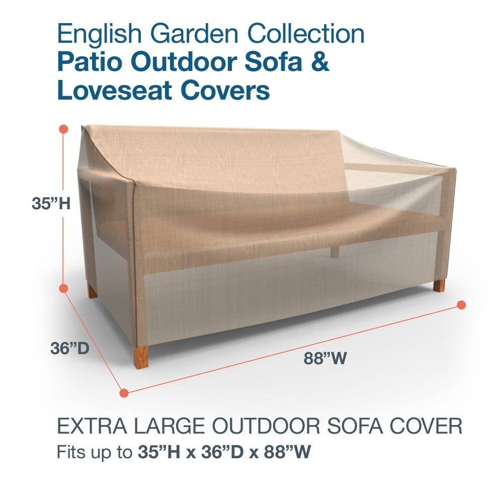 Budge P5A31PM1 English Garden Round Patio Table Cover Heavy Duty and Waterproof Small Two-Tone Tan