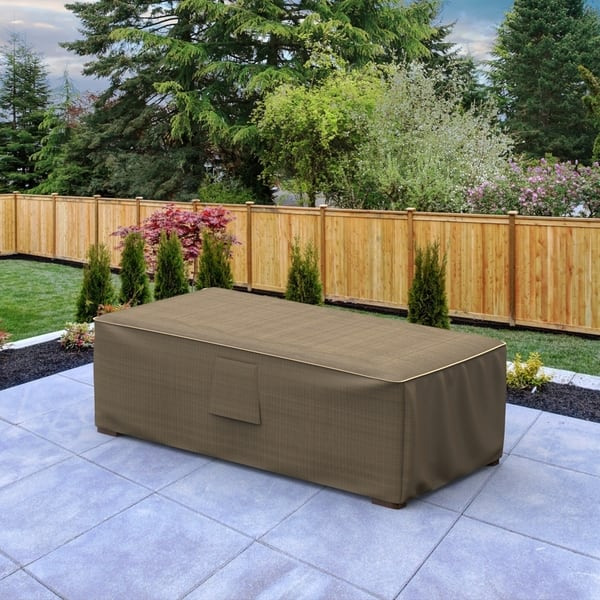 Budge Slim Waterproof Outdoor Patio Ottoman Coffee Table Cover Neverwet Hillside Black And Tan Multiple Sizes On Sale Overstock 30278650