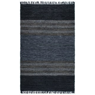 The Curated Nomad Aimia Grey/ Black Leather Chindi Rug