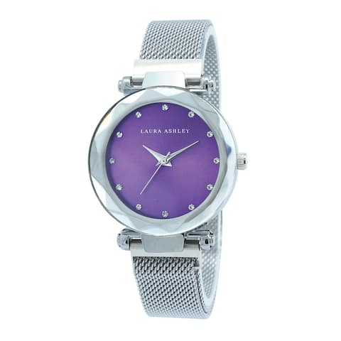 Laura Ashley Womens Silver Strap Purple Dial Facet Bezel Magnet Closure Watch