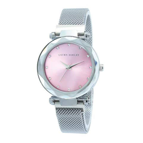 Laura Ashley Womens Silver Strap Pink Dial Facet Bezel Magnet Closure Watch - One size