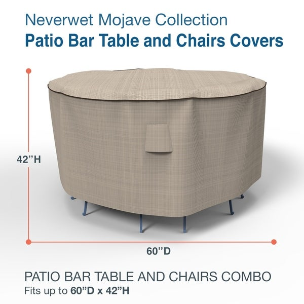 Budge Waterproof Outdoor Patio Bar Table and Chairs Cover, NeverWet® Mojave, Black Ivory, Multiple Sizes