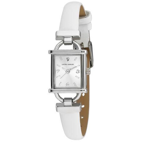 Laura Ashley Womens White Strap Silver Tank Case Watch - One size
