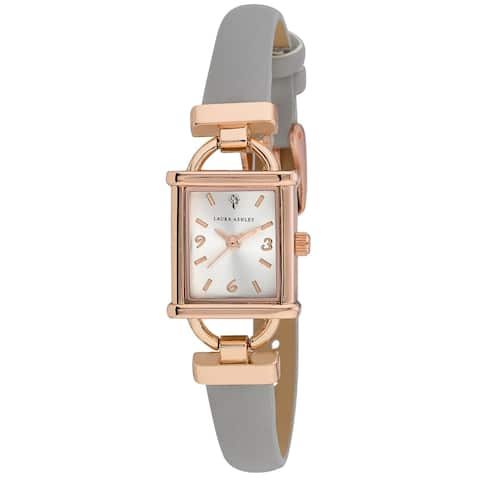 Laura Ashley Womens Grey Strap Rosegold Tank Case Watch - One size