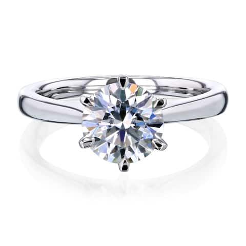Annello by Kobelli 14k Gold 1.5 Carat Round Moissanite Solitaire Engagement Ring (HI/VS)