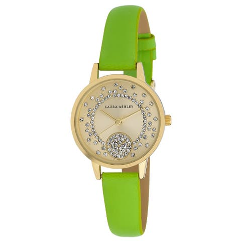 Laura Ashley Womens Green Strap Round Gold Case Stud Dial Watch - One size