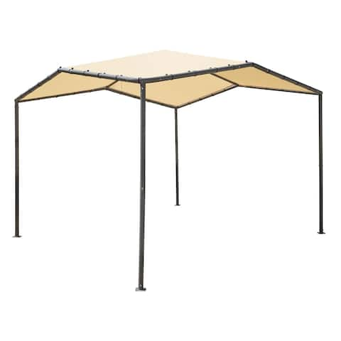 10x10 Pacifica Canopy Charcoal Frame and Marzipan Tan Cover