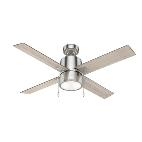 """Hunter 52"""" Beck Ceiling Fan with LED Light Kit and Pull Chain - Brushed Nickel"""