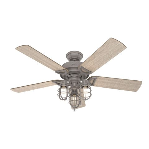 "Hunter 52"" Starklake Outdoor Ceiling Fan with LED Light Kit and Pull Chain, Damp Rated - Quartz Grey"