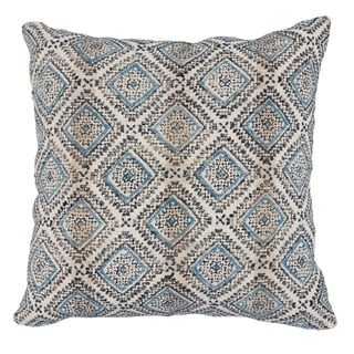 The Curated Nomad Clovelly Geometric Block Printed 22-inch Throw Pillow