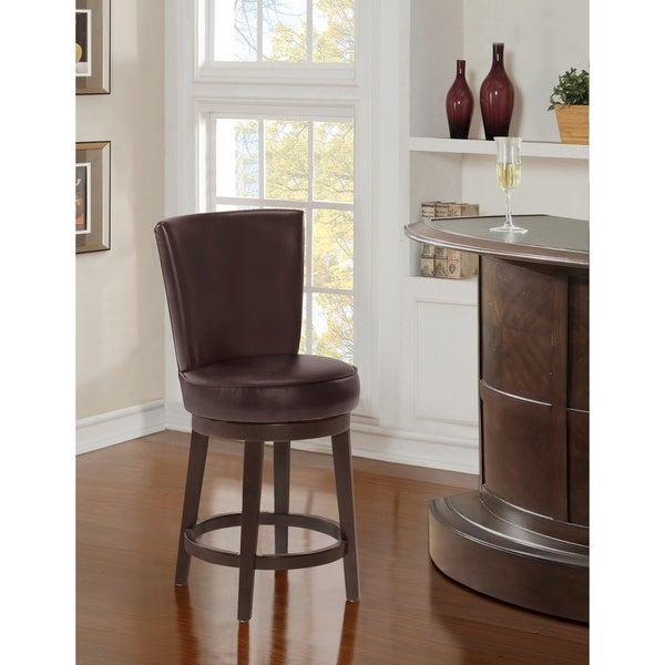 Chocolate Brown 24-inch Upholstered Swivel Counter Stool. Opens flyout.