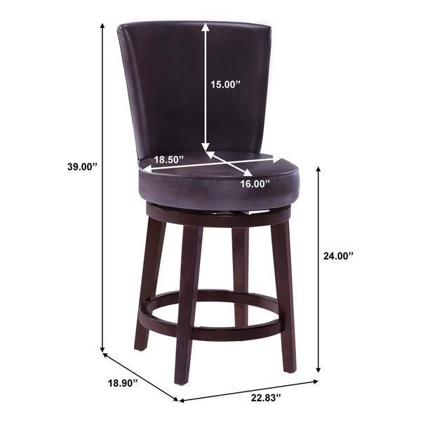 Chocolate Brown 24-inch Upholstered Swivel Counter Stool
