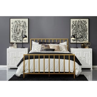Brushed Gold Slat Style Metal King Bed