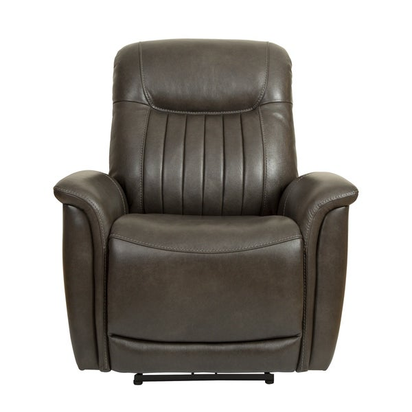 El Paso Brown Leather Curved Arm Power Recliner