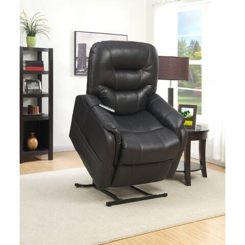 Black Faux Leather Heat and Massaging Lift Chair Recliner