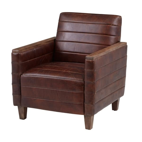 Wood Capped Arm Leather Lounge Chair On Sale Overstock 30279116