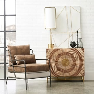 Link to Cognac Brown Leather and Fabric Metal Framed Chair Similar Items in Corner Chairs