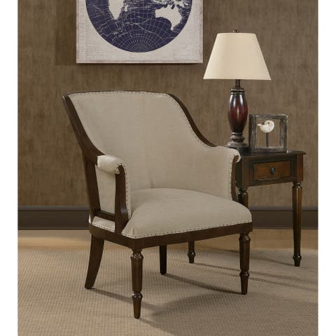 Latte Cream Wood Framed Club Chair
