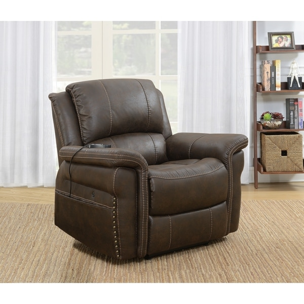 Rich Brown Upholstered Power Recliner