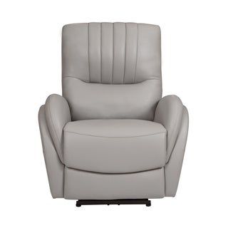 Channel Tufted Leather Power Recliner with Lumbar Support