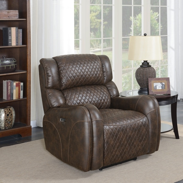 Walnut Brown Upholstered Quilted Power Recliner with USB Charging