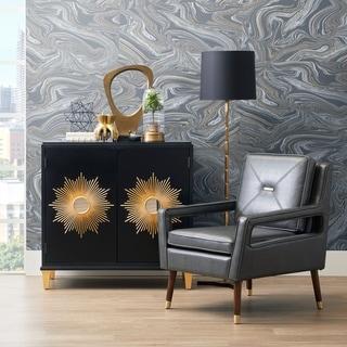Black 2-door Mirrored Sunburst Accent Cabinet
