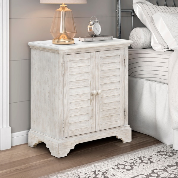 Weathered White Shutter Style 2-door Accent Chest