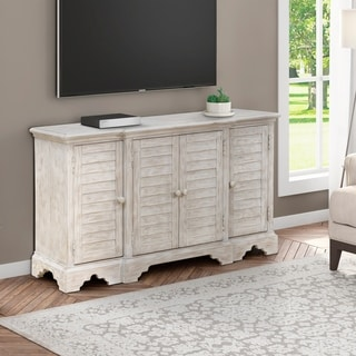Weathered White Shutter Style 4-door Console