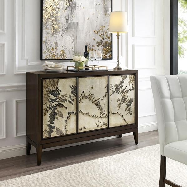 Brown Abstract 3-door Sideboard with Interior Storage