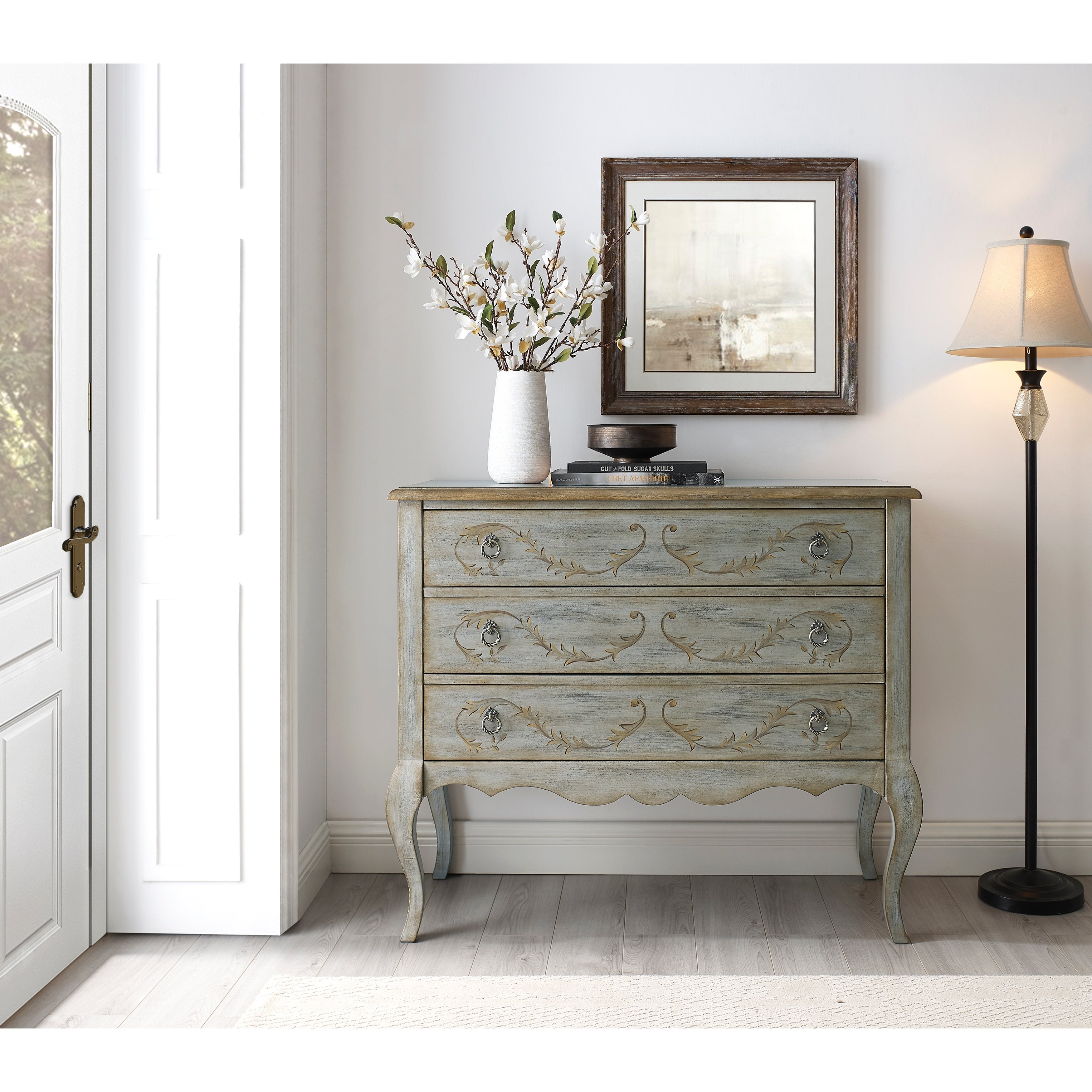 Painted Laurel Parisian Grey 3-drawer Accent Chest - Overstock