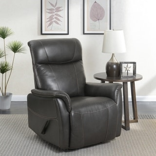 Charcoal Grey Traditional Manual Leather Recliner Rocker