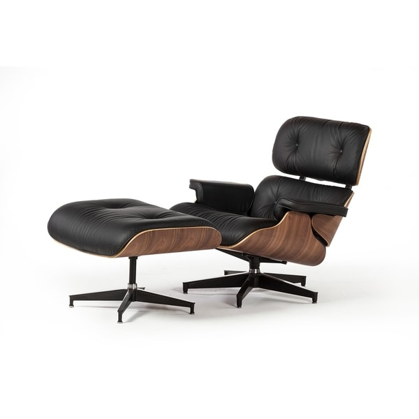 Mid Century Style Lounge Chair and Ottoman Black Leather Black Legs - Assembled