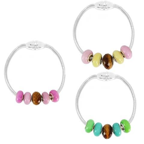 Gems en Vogue Sterling Silver Tiger's Eye Charm Bracelet Set with Four Quartz Donuts and Magnetic Snake Chain