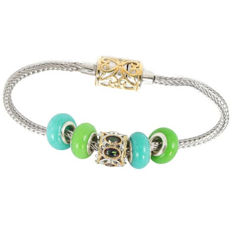 Gems en Vogue Palladium Silver Mystic Topaz Charm Bracelet Set with Four Green Quartz Donuts and Magnetic Snake Chain