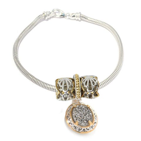 Gems en Vogue Palladium Silver Drusy Drop & Two-tone Charms Slide-on Charm Bracelet Set with Snake Chain