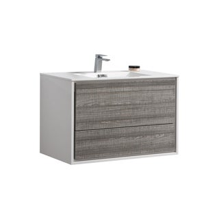 "De Lusso 36"" Ash Gray Wall Mount Modern Bathroom Vanity"