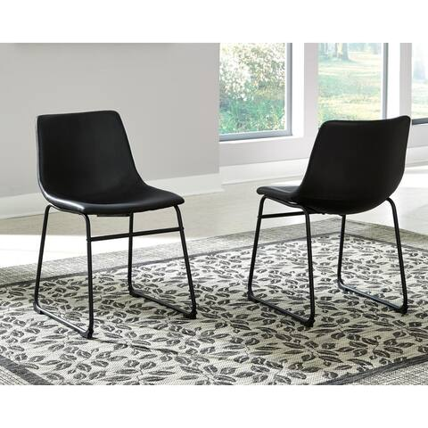 Porch & Den Reiser Black Upholstered Side Chair - Set of 2 - N/A