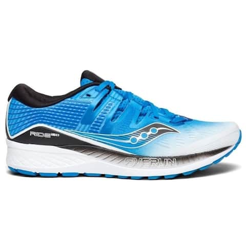 Saucony Mens Ride ISO Neutral Running Shoe Sneakers - White/Black/Blue - Size 10.5